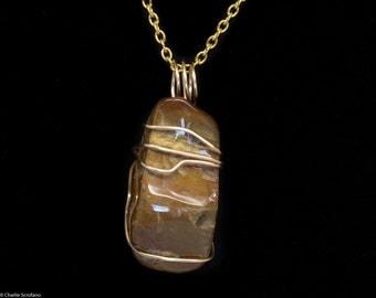 Pendant, Stone, Wire Wrapped, Jasper, Reiki, Infused, Pendant, Fashion, Necklace