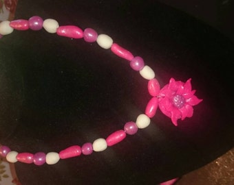 Handmade girls flower pendant necklace, bracelet and earring set