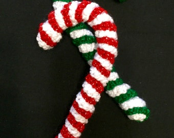 Crochet Candy Cane, Set of 2, Candy Cane Ornament, Christmas Ornament, Candy Cane, Christmas Decor