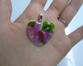 heart glass fused pendant