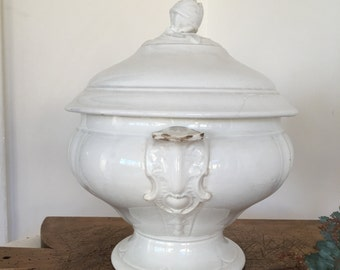 Antique French white tureen with lid