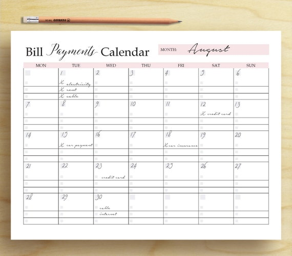 Bill Payments Calendar Bill Tracker Personal Finance