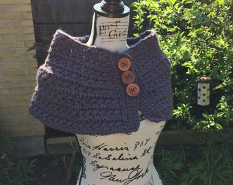 Neckwarmer, scarf, cowl, wrap with buttons