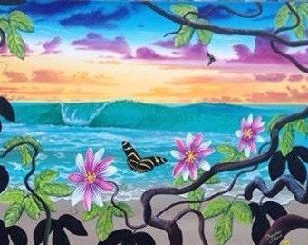 ocean art beach art surf art tropical painting