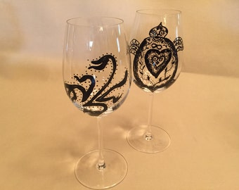 Hand Painted Wine Glasses Wedding  Anniversary Turtle Scorpian for Protection and Strength