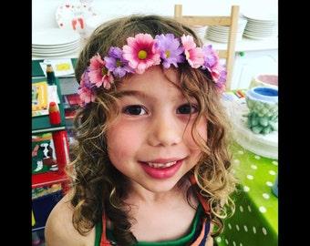 Flower Headbands - WHITE & PINK EDGE