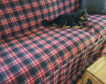 New Design Blizzard Fleece Red/Black/White Plaid Couch Slipcover/SofaScarf Pet Throw. Only 1 available