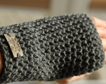 Crochet fingerless gloves, arm warmers, grey gloves, grey arm warmers, texting gloves, crochet gloves, hand warmers, wrist warmers, mittens