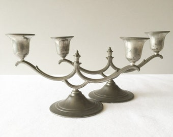 Pair of (2) Pretty Vintage Pewter Candle Holders - Candelabras