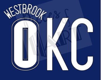 Russell Westbrook 0 OKC shirt decal