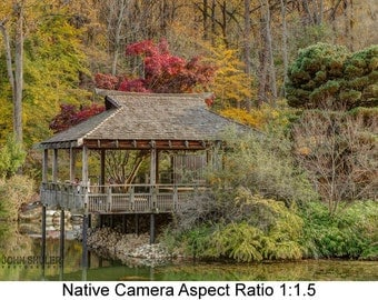 Japanese Teahouse in Autumn: Architectural art photography prints for home or office wall decor.