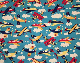 Baby Boy Airplanes Blue Red Apparel Quilting 100% Cotton Fabric FULL Yard