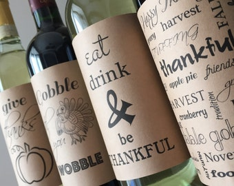 Thanksgiving wine label thanksgiving decor thanksgiving wine thanksgiving table decor thanksgiving hostess gift THANKSGIVING