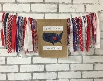 Fabric Scrap Banner/ scrap banner/ Patriotic Banner / 4th of july banner / patriotic garland/ 4th of july garland /USA decor /american decor