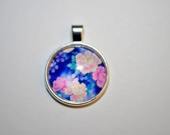Flower Pattern Glass, Flower Necklace Pendant, Round Pattern Glass Cabochon.