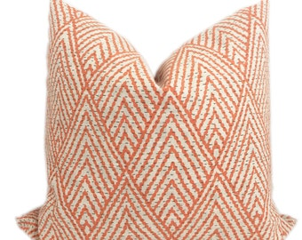 Mandarin Tahitian Stitch Pillow - Orange Arrow Designer Pillow - Throw Pillow-Toss Pillow-Pillow Cushion-Double Sided