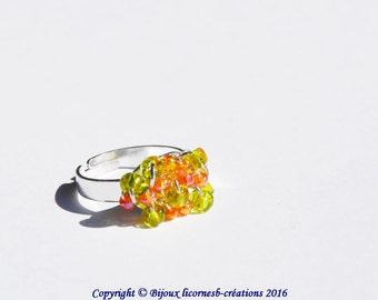 Ring adjustable, glass beads. LBC210316C