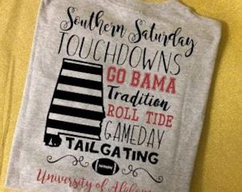 University of Alabama Football Tee, Go Bama, Roll Tide,  Southern Saturdays