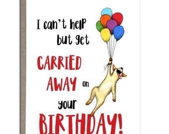Australian Cattle Dog, Birthday Card, Red Heeler, Handmade Greeting ...