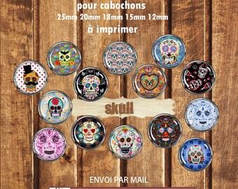 70 digital images digital cabochons skull crossbones print