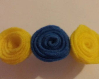 Yellow and blue rose barrette