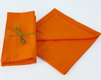 Orange Napkins in a Set of Four, 18 x 18 Double Ply Cotton Napkins in Orange