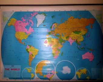Large Vintage Classroom Pull Down World Map -