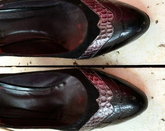 Snakeskin, patent leather and suede Italian High heels size UK 6