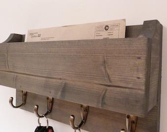 Mail Box Organizer, Mail Rack, Entryway Organizer, Key Rack, Mail Box, Key Holder, Antique Grey