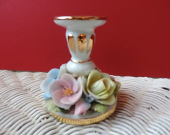 TICHE Candle Holder Floral Porcelain Vintage