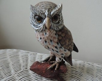 Hand Carved and Painted Owl Vintage