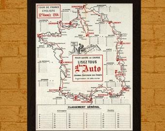 Tour De France Map Print 1914 - Cycling Map Tour De France Poster French Map Cycling Prints Tour De France Map