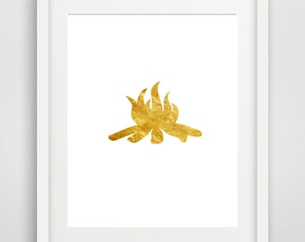 Gold Campfire, Printable Art, gold foil, camping, digital print, gold poster, camping decor, outdoors, gold prints, wall art, fire, picture