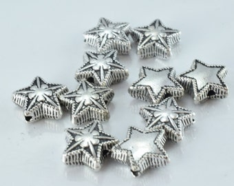11m Antique Silver Star Clover Metal Alloy Beads W/Black Accent Coloring Detailed Design 1m hole 4mm thickness,10pcs/PK