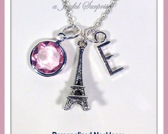 Personalized Eiffel Tower Necklace, Paris Necklace, I love Paris Gift, Silver Paris Jewelry, Charm Theme with initial & birthstone choice 90