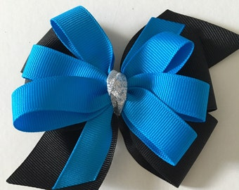 Turquoise and Black Hair Bow with Silver Knot in Center, Carolina PAnther Hair Bow, Panther bow, Panther Hair Bow, Panther Accessories
