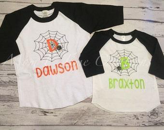 Boys personalized Halloween shirt, Halloween raglan, boys spider shirt