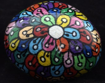 Flowers & Hearts Painted Pebbles /  Paperweight