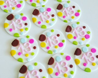 24 x simple polka dot bright party fondant Cupcake Toppers colours of your choice