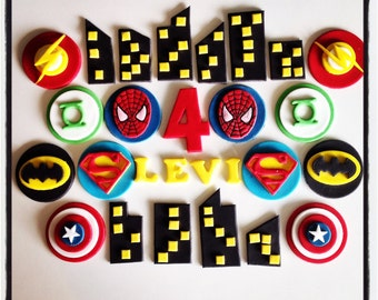 Superhero cupcake toppers x 12 and cake topper kit - batman superman spiderman captain america green lantern flash