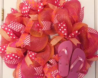 Flip Flop Wreath, Summer Mesh Wreath, Summer Pink and Orange Mesh Wreath, Summer Mesh Wreath, Summer Decor, Anytime Wreath