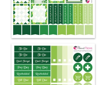 St. Patrick's Day Planner Stickers Erin Condren Planners St Patrick Green