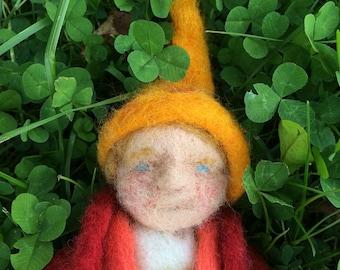 Needle Felted handmade Waldorf Toy dwaf doll boy