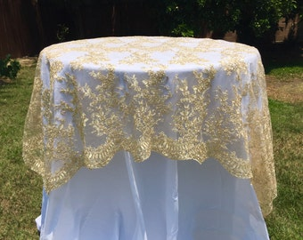 gold lace tablecloth, gold table overlay, lace table overlay, table overlay, table runner, embroidered, gold tablecloth, table cloth