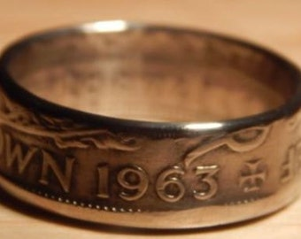 Half Crown Coin Ring - Hand Crafted 1963 - Size Z + 1/2