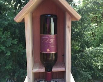 Redwood Wine Bottle Bird Feeder