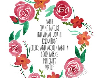 Young women values, YW values, young womens, lds, mormon, watercolor Young Women Values, faith, divine nature, virtue, knowledge, integrity