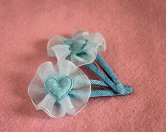 blue heart hairclip