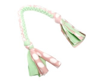 Fleece Tug Toy for Dogs in Mint and Pink Polka Dot