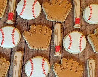 Baseball cookies/sports birthday cookies/party cookies/themed birthday/ gift idea/ sports lover/ gifts/1 dozen
